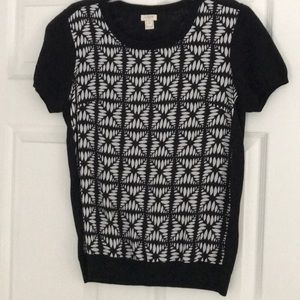 J Crew black and patterned top